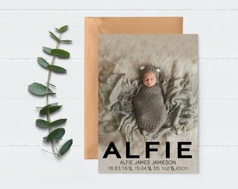 Birth announcement, baby announcement, printable baby birth card, newborn announcement, new baby photo card, Newborn Photo Card, Digital