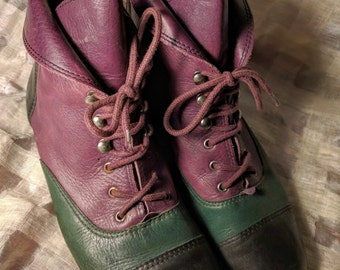 Vintage 80s 3 tone Leather Pixie Witch Boots!