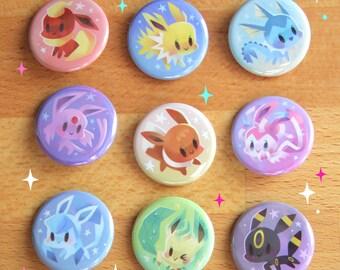"""Pokemon Eeveelution Buttons - 1.25"""""""
