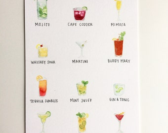 """Classic Cocktail Chart Original Watercolor Painting [6"""" x 8""""]"""