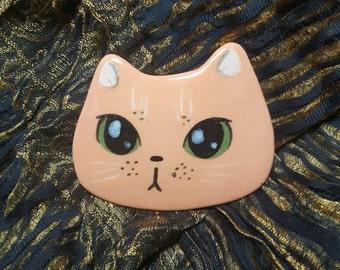 Orange Kitty with Green Eyes Brooch Pin