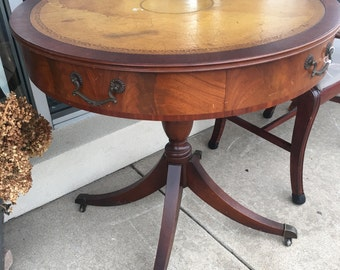 Vintage Drum Mahogany Table With Leather Top Rolls Handles Drawer Living  Room Furniture Wedding Display