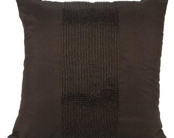 Dark Brown Panel Decorative Pillow Cover Brown Beaded Throw Pillow Brown Accent Pillow Brown on Brown 14x14 16x16 18x18 20x20