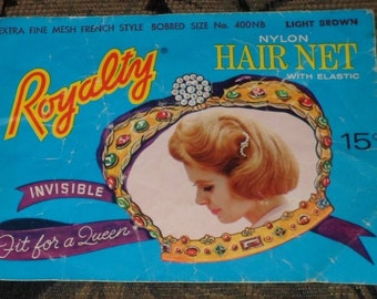 One Circa 1960's Royalty Light Brown Bobbed Style Nylon Hair Net