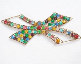 Vintage Art Deco Flapper Dress Trim 1920's Rhinestone Bow. Antique Dress Decoration. Deco Rainbow Paste Sew On Hat Trim.