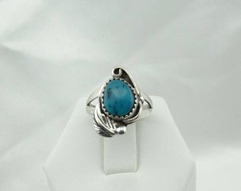 Small Stunning Blue Turquoise Sterling Silver Native American Ring Size 4 1/4  #BLUETQ-SR3