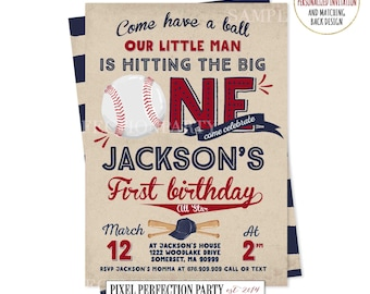 Baseball Birthday Invitation Baseball Invitation Baseball First Birthday Invitation Boy 1st Birthday Invitation Vintage Baseball Invitation