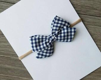 blue checkered bow, blue sailor bow, navy blue bow, navy blue checkered bow
