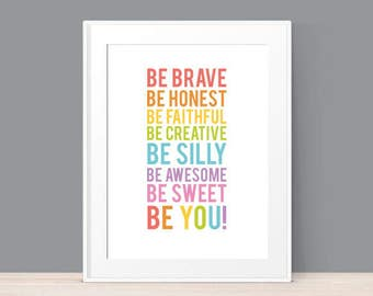 Inspirational Wall Art - Children's Wall Art - Be Awesome - Kids Room Decor - Motivational Kids Art - Inspirational Quote Print - Download