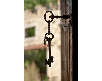 Old Key Photo, Rustic Farmhouse Art, Lock Picture, Door Wall Art, Hallway Entryway Decor, France Photography 8x12, 11x14, 16x20
