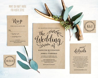 Charmant Vintage Wedding Invitation Suite, Printable Wedding Invitation Template,  Rustic Wedding Invitation Cards, DIY