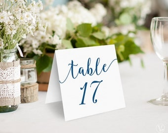 Navy Blue Wedding Table Numbers, Printable Tent Style Table Numbers Template, Kraft Paper Table Numbers, INSTANT DOWNLOAD, 5x5 Folded, VW11