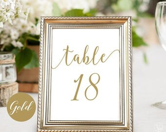 """Printable Wedding Table Numbers, Gold Table Numbers 1-40, Two Sizes included 5""""x7"""" and 4""""x6"""", INSTANT DOWNLOAD, Modern Calligraphy VW10GOLD"""