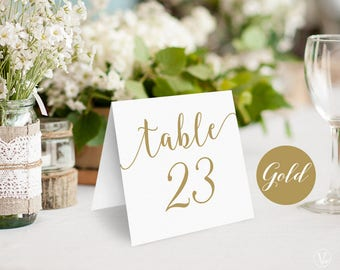 Gold Wedding Table Numbers, Printable Tent Style Table Numbers Template, INSTANT DOWNLOAD, 5x5 Folded, VW10GOLD