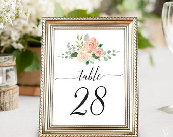 Printable Wedding Table Numbers 1–40, Peach Blush Floral Table Numbers Template, 5x7 and 4x6 sizes, Peach Blush