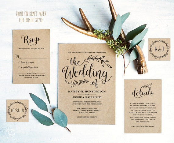 What Needs To Be Included In A Wedding Invitation: Vintage Wedding Invitation Suite Printable Wedding Invitation