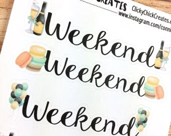 WEEKEND Planner Stickers - CHEERS collection - Weekend banners - perfectly sized for Inkwell Press, Erin Condren, Happy Planner! {#170103}