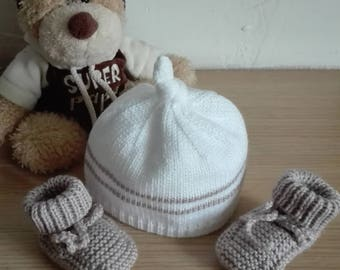 Bonnet and booties baby 0/3 months