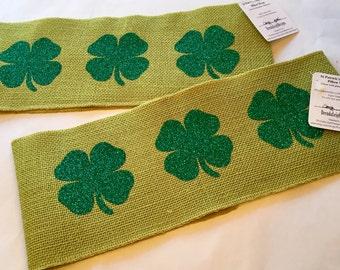 St Patrick's Day Burlap Pillow Wrap/ Decorative Pillow Band/ Luck-of-the-Irish