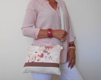 Floral Crossbody Bag, Canvas Shoulder Bag, Pink Clutch Bag, Floral Handbag, Medium Crossbody Bag, Gift For Woman, Zippered Clutch Purse