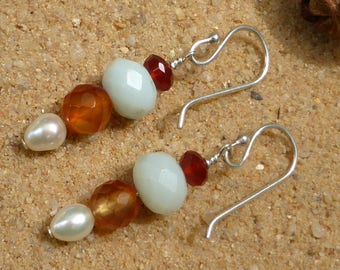 Carnelian Amazonite Earrings Pearl Sterling Silver Faceted Multigemstone Gemstone Jewellery Artisan Bohemian Style Spring Colours Designer