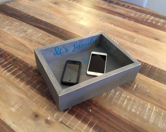 Family Time No Cell Phones/Electronics Wood Storage Box