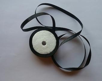 "1/4"" or 6mm Black Satin Ribbon"