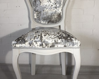Bedroom Chair Louis Style Crushed Velvet Shabby Chic painted.