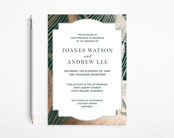 Elegant Rose Gold and Emerald Green / Foil Marble Wedding Invitation, printable