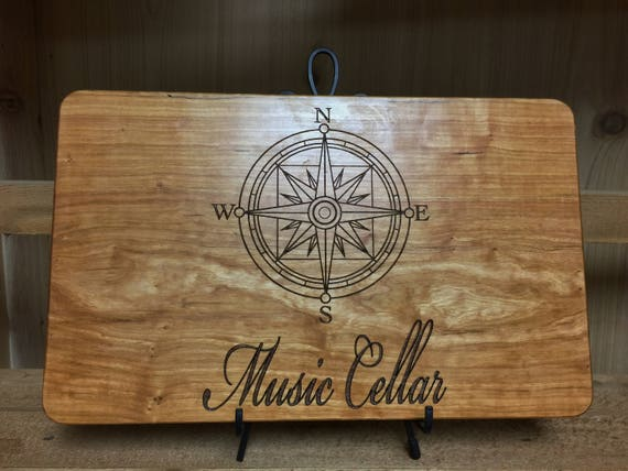 Nautical Personalized Wooden Cutting Board Engraved with Name in Cherry, White Oak, Walnut and Maple Wood.