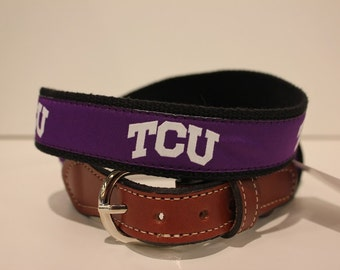 Texas Christian University TCU Men's  Web Leather Belt
