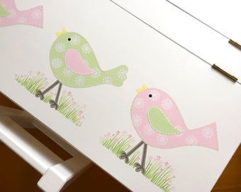 Child's Bird Desk and Two Chair Set - Bird Design in Pale Green/Ice Pink , Children's Table, Table and Chairs, Kids Furniture, Childs Desk