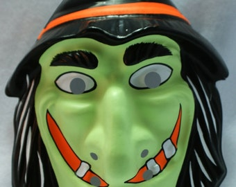 Vintage Green Witch Halloween Mask Horror Universal Monsters October Y130