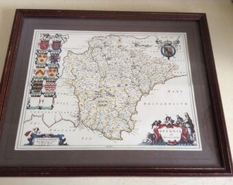 A  Vintage Map.Print.  Mounted and Framed under glass. Copy 17th Century Engraving. Devonia. Devonshire.