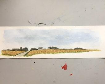 Iowa Farmland - watercolor landscape painting