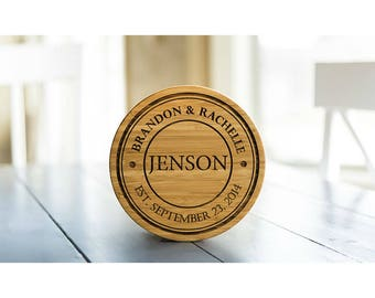 Personalized Solid Bamboo Trivets - 4 Trivets - Jenson Style