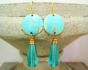 Earrings aqua brass patinated brass blanks disc earrings teal patina turquoise czech beads dangles raw brass earrings