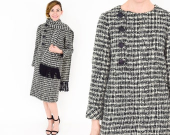 60s Wool Dress | Black White Houndstooth Shift Dress with Scarf |  Medium
