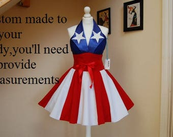 Captain America dress,American flag dress.MADE TO MEASURE!!