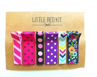 MIXED PRINTS no slip hair clips. Hair clips for girls, toddlers. Polka dot clips. Hair accessories for girls. Baby hair clips. Set of 6.