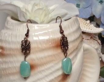 Frosty Mint Dangle Cottage Chic Dangel,Mint Green Pearly Earrings!