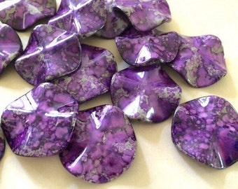 XL Circular purple Painted Beads, 36mm acrylic beads - chunky craft supplies, wire bangle, jewelry making, purple beads, gray beads