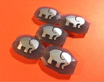Elephant Bangle Beads, silver elephants on gray beads, elephant bangle, elephant jewelry, elephant gift, gray elephant