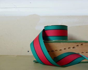 Vintage Stripe Christmas Ribbon / Red and Green Woven Ribbon / Offray Grosgrain Ribbons / Wreath Bow