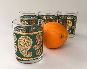vintage lowball Culver Glasses Blue Green Paisley old fashioned