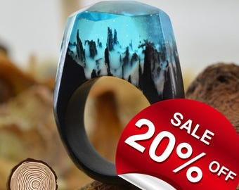 Snow Falling (Blue) ( Handmade Wooden Resin Ring. Wood Resin Ring.  Wood jewelry. with Magnificent Tiny Fantasy Landscape )