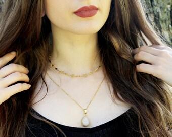 Geode Druzy Drop Pendant Chain Necklace Gold