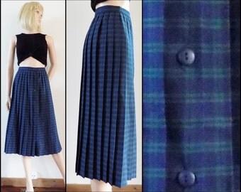 Blue green plaid pleated skirt blue green check tartan pleated midi skirt size 26 inch waist