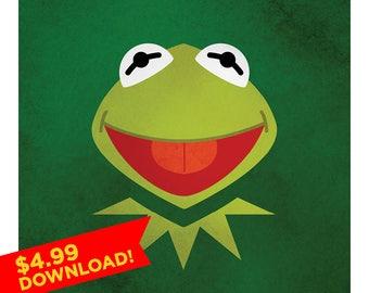 Kermit The Frog Portrait  | 8x8 Illustration