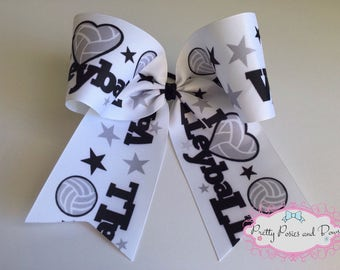 Volleyball Hair Bow, Volleyball Bow, Volleyball Cheer Bow, Large Volleyball Bow, Volleyball Gift, I Love Volleyball